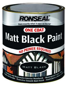 Ronseal One Coat Matt Black Paint 750ml